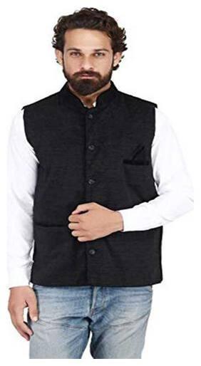 Vixeen Men Black Solid Regular Fit Ethnic Jacket