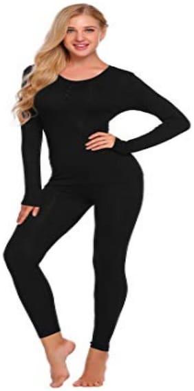 Nephra Women Blended Thermal set - Black
