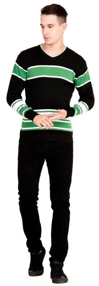 NEUVIN  Pullover Cardigan Black-Green Striped