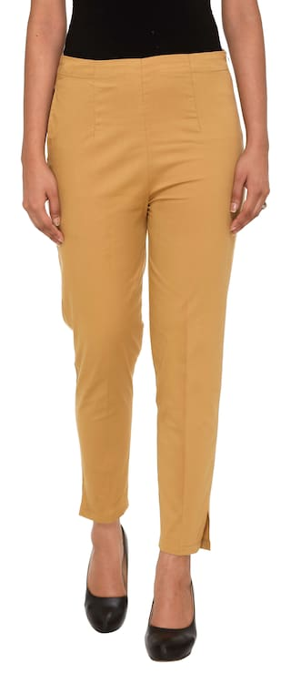 Neuvin Women's Cotton Lycra Trousers/Pants/Chinos Camel-L