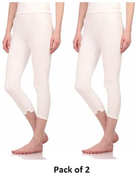 Neva Esancia Women Thermal Lower OMS16 Off_White (Pack of 2) Size: 80