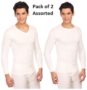 Neva Esancia Men Upper Thermal Assorted_Neck OffWhite (Pack of 2) Size: 85