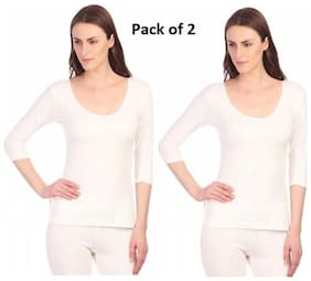 Neva Esancia Women Thermal OMS11 (Pack of 2) Upper Off_White Size: 80
