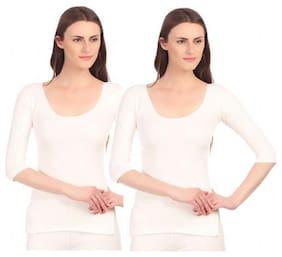 Neva Women Blended Thermal top - White