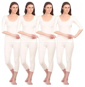 Neva Women Blended Thermal set - White