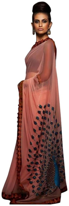 New Designer Saree Georgette Universal Embroidered work Saree - Peach , With blouse