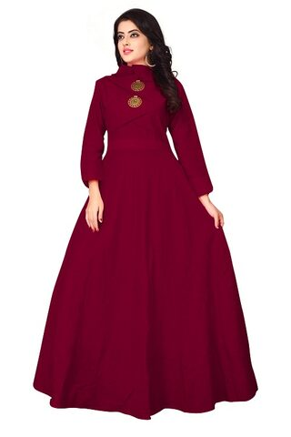 OM SAI LATEST CREATION Georgette Comfort Solid Gown - Red