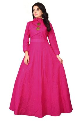 OM SAI LATEST CREATION Georgette Comfort Slim Solid Gown - Pink