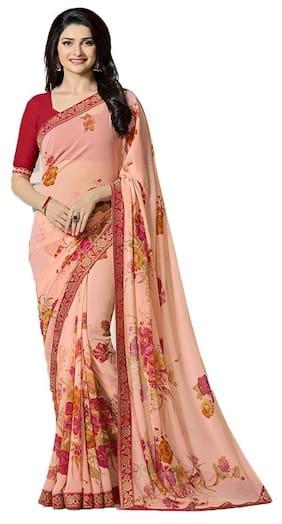 Rajeshwar Fashion Georgette Universal Embroidered Work Saree - Peach