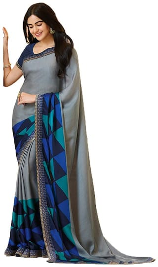 New Designer Saree Women's Multi Georgette Printed Saree With Blouse Piece