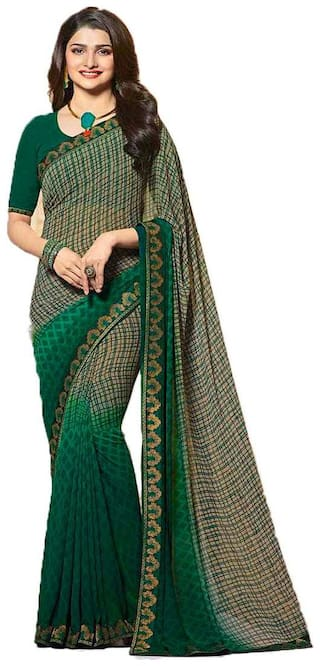 New Designer Saree Women's Green Georgette Saree With Blouse Piece