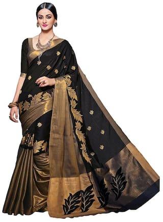 401682907241d4 New Designer Saree Cotton Universal Embroidered work Saree - Black , With  blouse