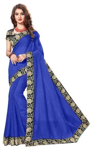 Rajeshwar Fashion Cotton Chanderi Lace work Saree - Blue , With blouse