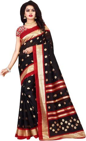 Leriya Fashion Silk Tussar Block print work Saree - Black , With blouse