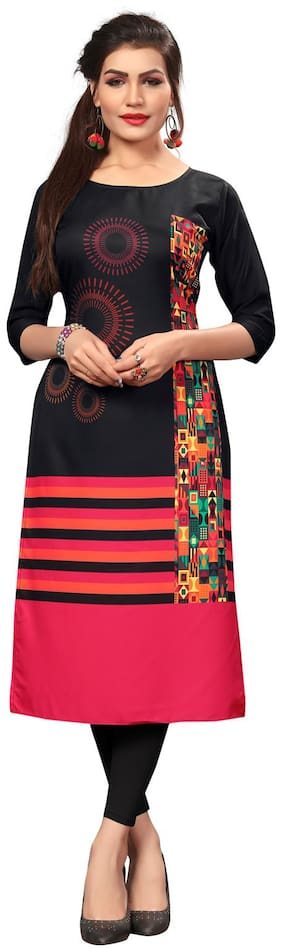 NEW ETHNIC 4 YOU Women Black Printed Straight Kurti