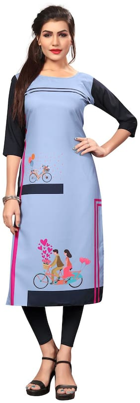NEW ETHNIC 4 YOU Women Crepe Printed Straight Kurti - Grey
