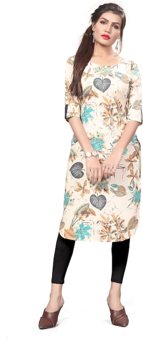 NEW ETHNIC 4 YOU Women Beige Floral Straight Kurti