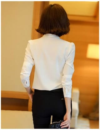 Slim Sexy Solid Betterlife Neck Sleeve Women Long Professional Shirt V White New Fashion HwwfnZqT