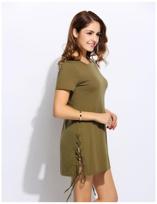 Lace Green Army Up Short Dress Solid Sleeve Neck Split Fashion Hem O Women x7wqa76S0