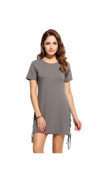 New Fashion Women O-Neck Short Sleeve Solid Hem Lace Up Split Dress-Gray