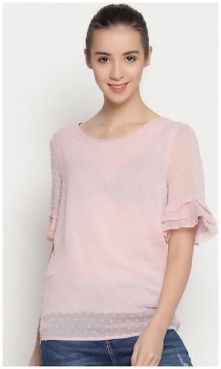 ENSO Women Textured Ruffle Top - Pink