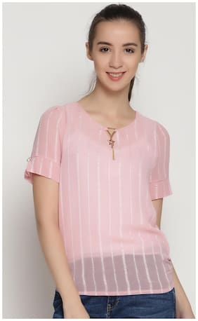 ENSO Women Textured Casual Top - Pink