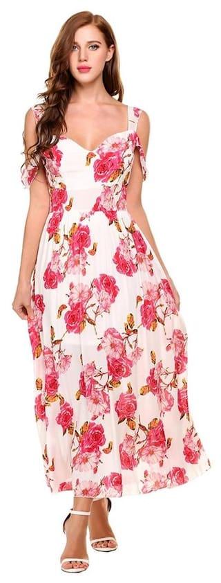 New Women Casual V-Neck Sleeveless Floral Prints Backless Pleated Hem Maxi Dress