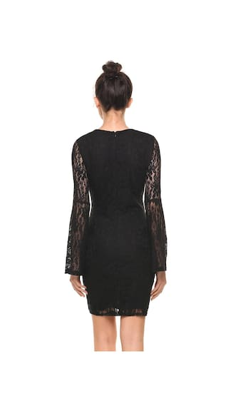 Women Neck Elastic Lace Casual New Dress Hollow Sleeve Flare O Out Slim Floral Long Rqdw7n1x