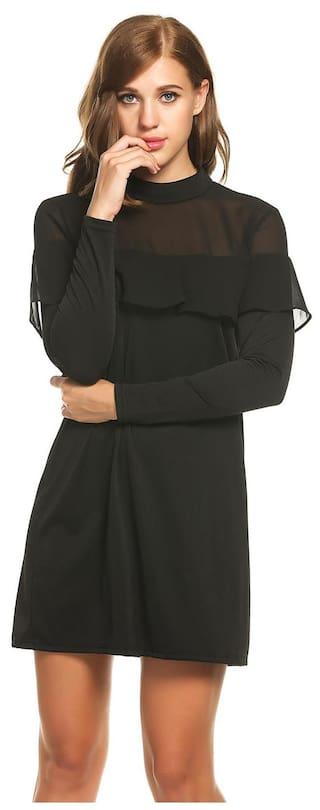 Black Stand Collar Patchwork Long New Casual Women Chiffon Dress Sleeve Betterlife 1vTwp4q