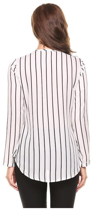 New V Betterlife White Long Hem Pullover Striped Asymmetrical Sleeve Blouse Semi Neck Casual Women Chiffon Sheer Shirts fwwxpAn