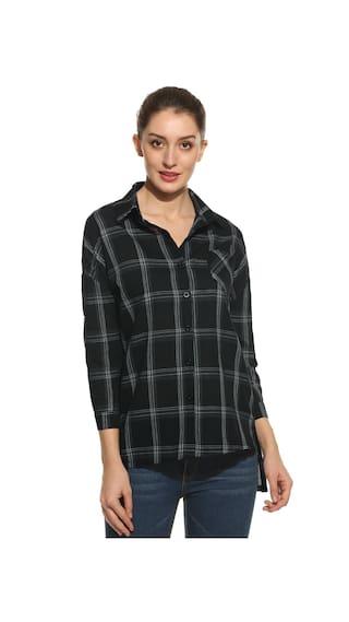 New Women Casual Turn-down Collar Three Quarter Sleeve Side Split Plaid Button-Down Shirts