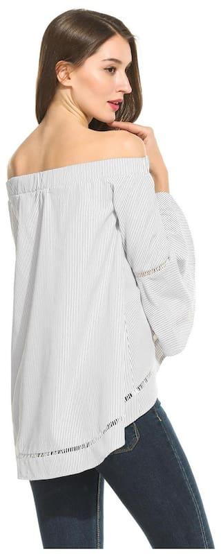 Neck Sleeve Striped Women Slash Long Black Shirts Casual New Flare Betterlife Asymmetrical Hem wB0HqFZ