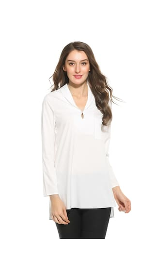 Betterlife New Women Casual Turn Down Neck Long Sleeve Solid Pocket Button Shirt-White