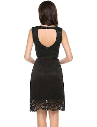 Lace New Black Wave Women Neck Sleeveless Brims with Hem Dress O Lining Backless Floral Casual 6rxYwFRqnr