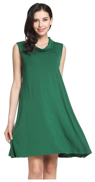 Casual Line Pleated A Women Dress Hem New Sleeveless Elastic Solid Pullover 5TBf4w
