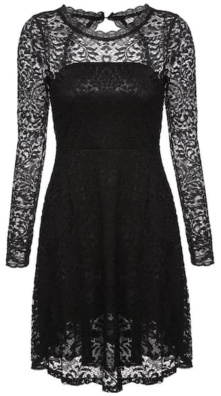New Women Casual O-Neck Long Sleeve Sexy Lace Backless Hollow Dress-Black