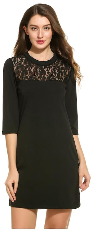 New Women Casual O-Neck 3/4 Sleeve Floral Lace Patchwork Dress-Black