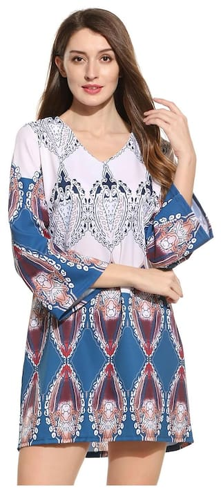 New Women Ethnic Styles V-Neck Long Sleeve Prints Pullover Straight Dress