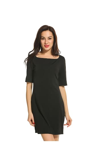 New Women Fashion Casual Boat Neck Half Sleeve Solid Slim Dress-Black