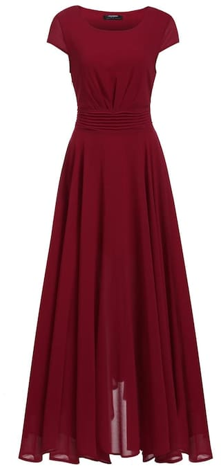 New Women O-Neck Cap Sleeve Solid Chiffon Pleated A-Line Maxi Dress-Red