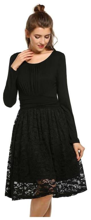 Women O-Neck Long Sleeve Lace Patchwork Elegant Vintage Styles Dress