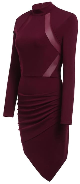 Package New Asymmetrical Wine Sleeve Sexy Front Long Dress Pleated Hip Cross Collar Elastic Stand Hem Red Women qWqnC7g
