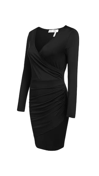 New Women Sexy V-Neck Long Sleeve Solid Front Cross Elastic Pleated Wrap Dress-Black