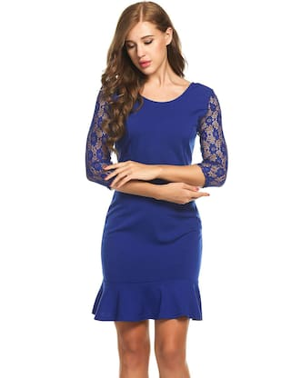 Hollow Hip Patchwork Mermaid Quarter Hem Sexy Dress Lace Package Sleeve New Neck Women Three Blue Tunic O Out qOxn6z4