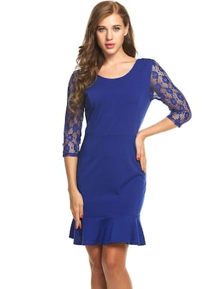 Three Lace Hem Neck Tunic Quarter O Women New Sexy Patchwork Out Mermaid Dress Hip Hollow Package Blue Sleeve SqgYR