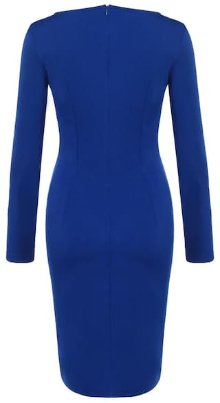 Dress Pleated Women Slim Sleeve Blue V Sexy New Styles Pencil Vintage Solid Long Neck H76qTHxn0