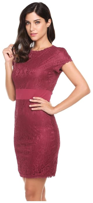 Dress Sexy Lace Patchwork Wine Package Slim Tunic Hip Women Betterlife Neck O Red Short Sleeve 7Aq5nY