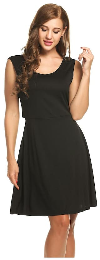 Sexy O Tank Solid Women Pullover Betterlife Dress Elastic Pleated Backless Black Sleeveless Neck UqFwwWxnR5