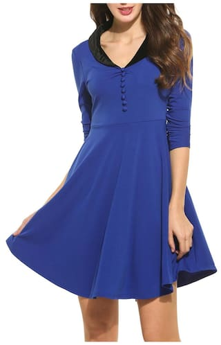 New Women Vintage Styles Peter pan Lint Collar Solid Half Sleeve A-Line Pleated Pullover Dress-Blue