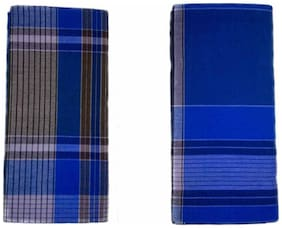 NEWLADIESZONE Cotton Checked Mundu Dhoti - Blue